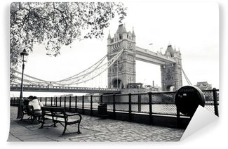 A black and white view of Tower Bridge Wall Mural - Vinyl