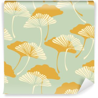 Wall Mural - Vinyl a japanese style ginkgo biloba leaves seamless tile in a gold and light blue color palette