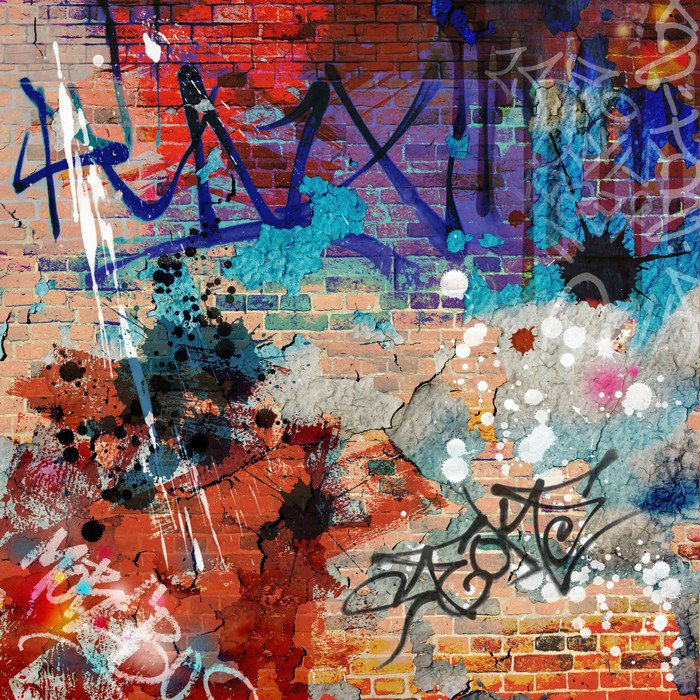 A Messy Graffiti Wall Background Wall Mural Vinyl