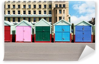 Vinyl Wall Mural A photography of colorful houses at the beach in Brighton