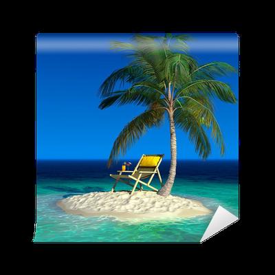 A small tropical island with a beach chaise longue wall for Beach chaise longue