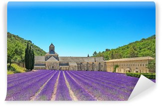 Abbey of Senanque blooming lavender flowers. Gordes, Luberon, Pr Wall Mural - Vinyl
