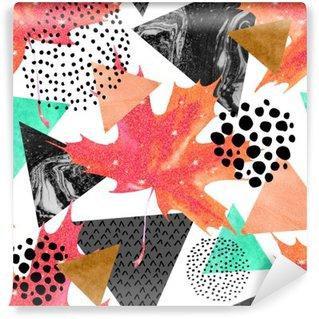 Abstract autumn geometric seamless pattern.