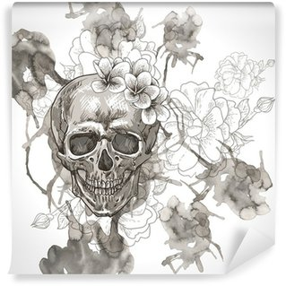 wall mural vinyl abstract background with skull wings and flowers - Halloween Wall Mural