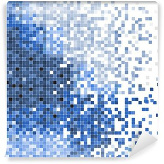 Wall Mural - Vinyl abstract blue pixel mosaic vector background illustration