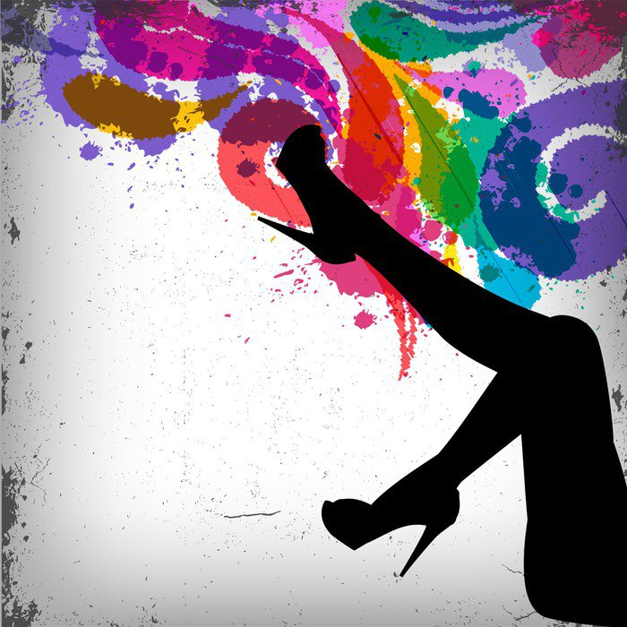 Abstract colorful background with woman legs silhouette