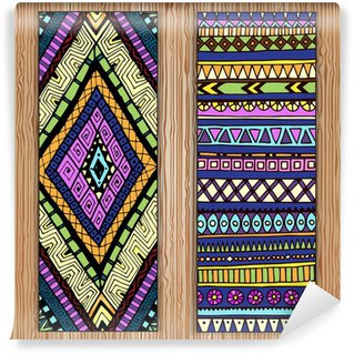 Wall Mural - Vinyl Abstract Ethnic Pattern Cards On Wood Background.