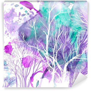 Abstract silhouette of trees Wall Mural - Vinyl