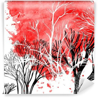 Wall Mural - Vinyl Abstract silhouette of trees