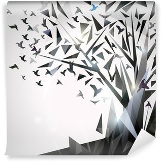 Wall Mural - Vinyl Abstract Tree with origami birds.