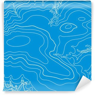 Abstract vector topographic map in blue colors Wall Mural - Vinyl