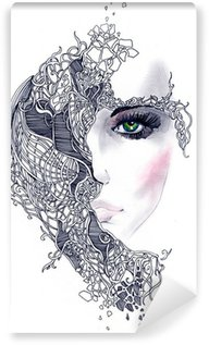 abstract woman face Wall Mural - Vinyl