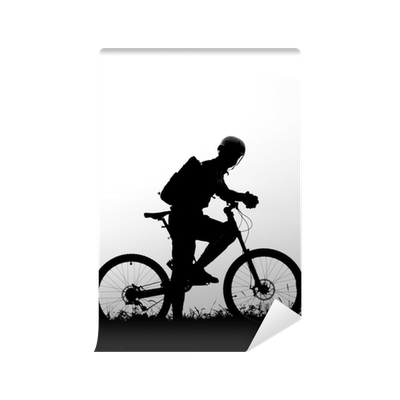 adventure cycling in the nature mountain biker silhouette wall mural pixers we live to change
