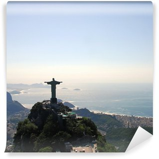 Vinyl Wall Mural Aerial view of Rio De Janeiro with Christ the Redeemer Monument
