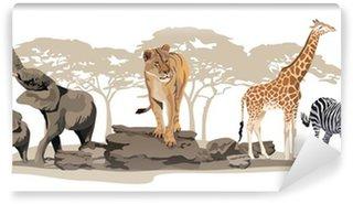 African Animals Wall Mural - Vinyl
