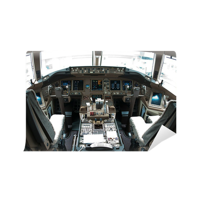 Airplane cockpit vinyl wall mural pixers we live to for Cockpit wall mural