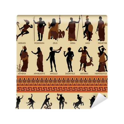 All 12 greek gods and ancient mythology vinyl wall mural for Ancient greek mural
