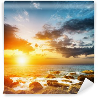 Vinyl Wall Mural Amazing sky over the sea. Sunset landscape