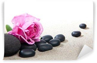 Ambiance zen - rose et pierres noires