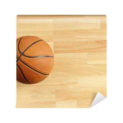 An official orange ball on a hardwood basketball court for Basketball court wall mural