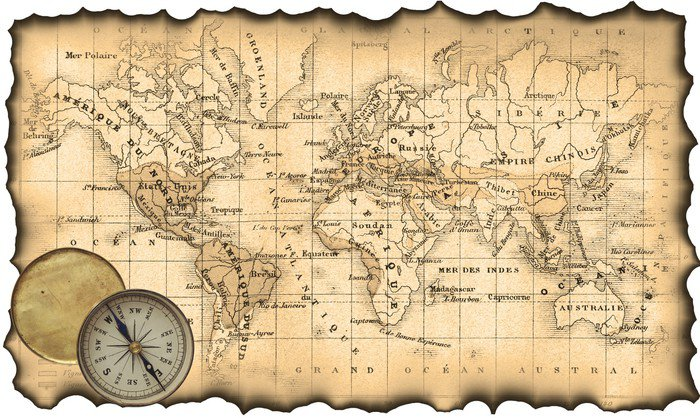 Ancient Map Of The World Compass Wall Mural Vinyl Pixers - Us map with compass