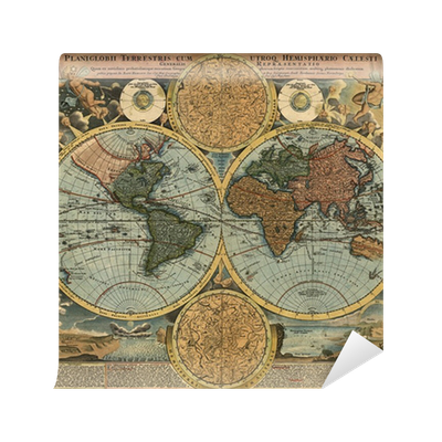 Old Map Of The World Contemporary Bedroom Wall
