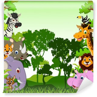animals cartoon with tropical forest background Wall Mural - Vinyl