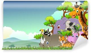 animals wildlife with landscape background Wall Mural - Vinyl
