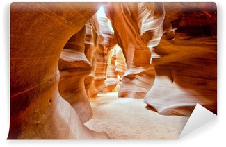Antelope Canyon view with light rays Wall Mural - Vinyl