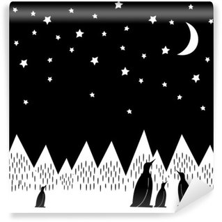 Arctic night vector illustration with penguins family, geometric snowy mountains, moon and stars. Black and white nature print. Cute mountains landscape background.