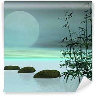 Asian steps to the moon - 3D render Wall Mural - Vinyl