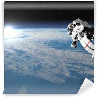 Astronaut or cosmonaut flying upon earth - 3D render Wall Mural - Vinyl