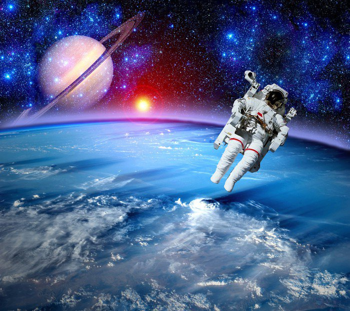 Wall Mural   Vinyl Astronaut Spaceman Outer Space   Planets