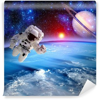 Astronaut Spaceman Saturn Planet Wall Mural - Vinyl