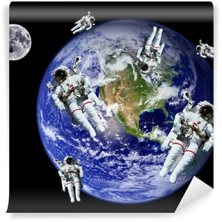 Astronauts Earth Moon Space Wall Mural - Vinyl