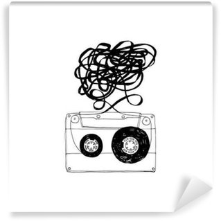 Audio cassette with tangled tape.Vector. Wall Mural - Vinyl
