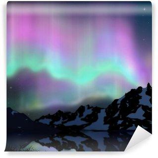 Wall Mural - Vinyl aurora over lake