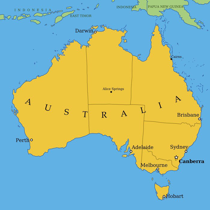 Australia Map With Major Cities And Provinces Wall Mural Vinyl - Australia cities map