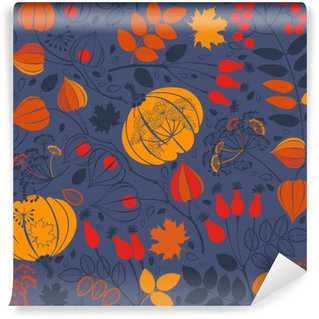 Wall Mural - Vinyl Autumn seamless pattern on blue background. Bright vector background