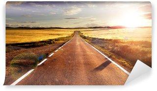 Aventuras y viajes por carretera.Carretera y campos Vinyl Wall Mural