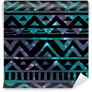 Aztec Tribal Seamless Pattern on Cosmic Background Wall Mural - Vinyl