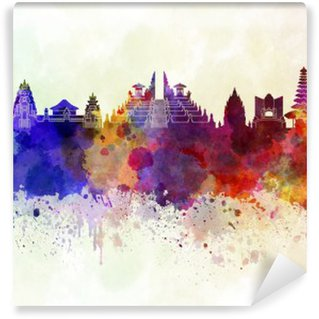 Bali skyline in watercolor background Vinyl Wall Mural