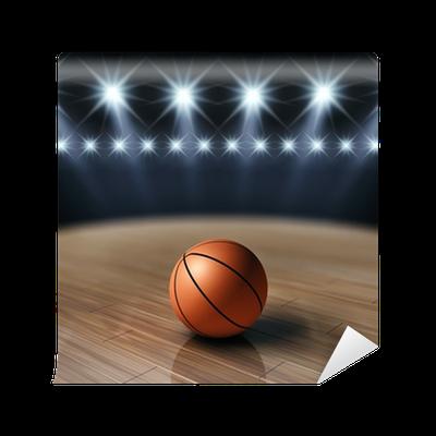 Ball on basketball court basketball arena wall mural for Basketball court wall mural