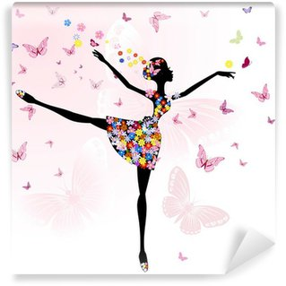 Vinyl Wall Mural ballerina girl with flowers with butterflies