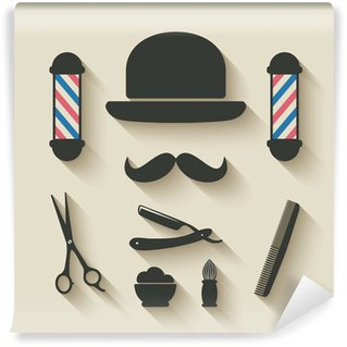 Wall Mural - Vinyl barber icon set