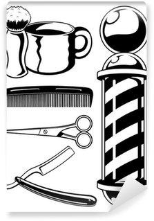 Barber Shop Set Wall Mural - Vinyl