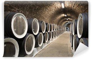 Wall Mural - Vinyl Barrels in the wine cellar