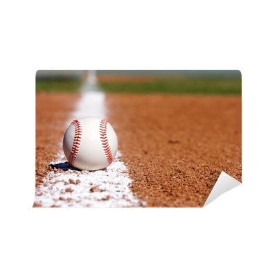 Baseball on the Infield Chalk Line Wall Mural • Pixers ...