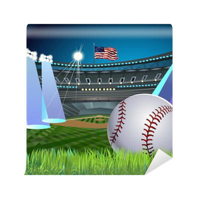 Baseball stadium in the light wall mural pixers we for Baseball stadium mural wallpaper