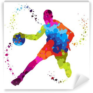 Wall Mural - Vinyl basket ball player with colored dots